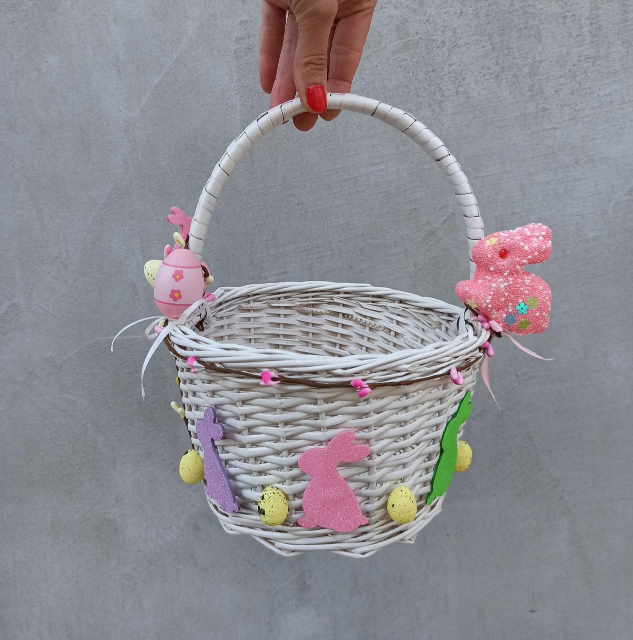 Білий Дитячий пасхальний кошик з зайчиком для дівчаток