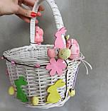 Білий Дитячий пасхальний кошик з зайчиком для дівчаток, фото 6