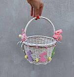 Білий Дитячий пасхальний кошик з зайчиком для дівчаток, фото 4