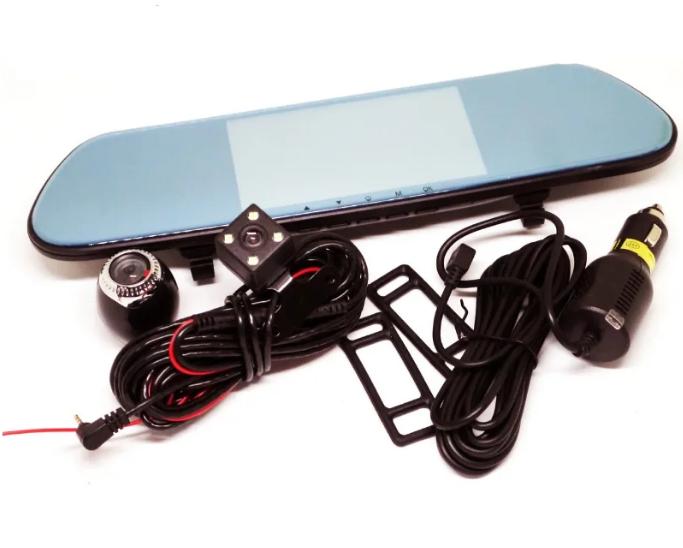 Автомобільний відеореєстратор дзеркало DVR V9TP з 3 камерами
