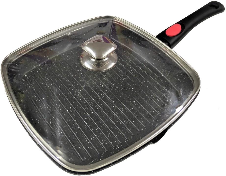 Сковорода со съемной ручкой Benson BN-314 (мраморное покрытие)   сковородка Бенсон, сковорода с крышкой Бэнсон