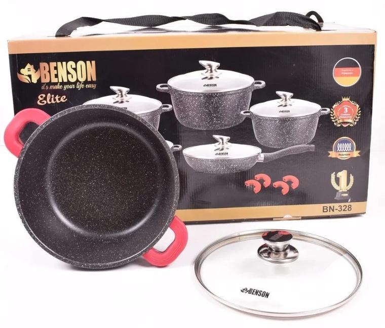 Набір посуду Benson BN-328 (10 предметів) мармурове покриття   каструля з кришкою, каструлі   сковорода Бенсон