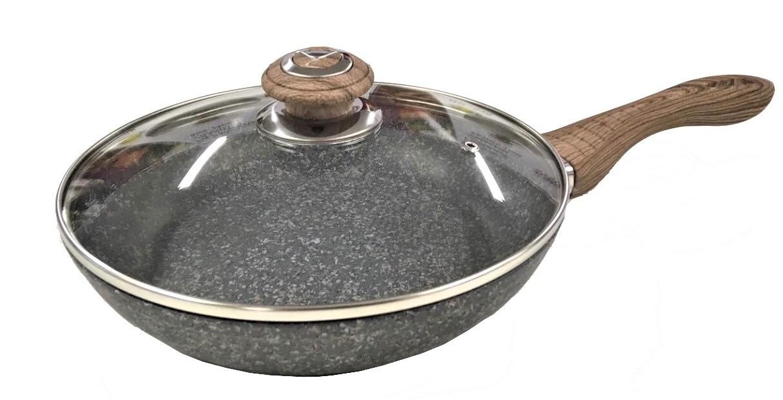 Сковорода Benson BN-538 (24 см) с крышкой, антипригарное гранитное покрытие   сковородка Бенсон