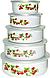 Набор судочков Benson BN-099 эмалированных (5 шт)   судок для еды Бенсон   пищевые контейнеры Бэнсон   судки, фото 4