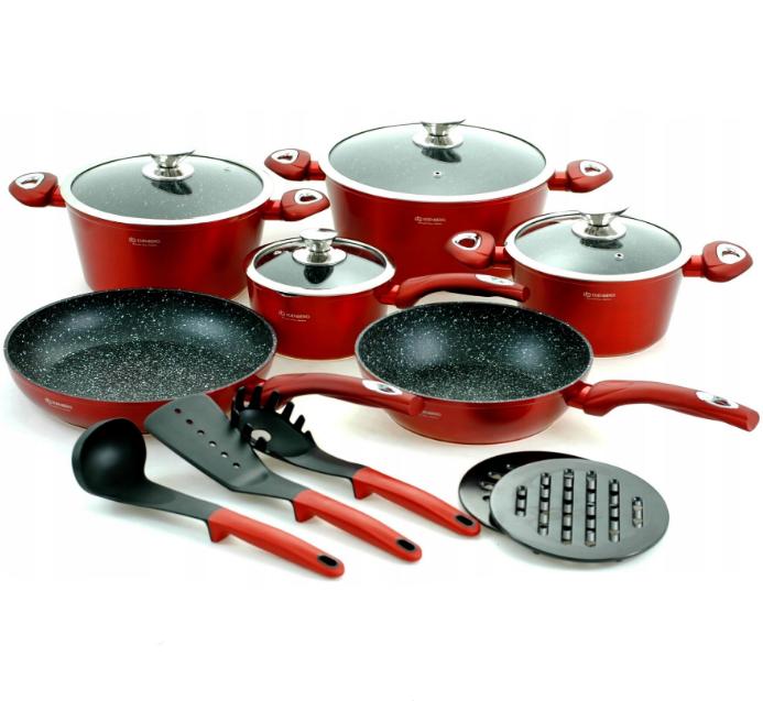 Набір посуду Edenberg EB-5612 з 15 предметів   Каструлі, сковороди ківш мармурове покриття