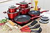 Набір посуду Edenberg EB-5612 з 15 предметів   Каструлі, сковороди ківш мармурове покриття, фото 2