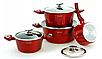 Набір посуду Edenberg EB-5612 з 15 предметів   Каструлі, сковороди ківш мармурове покриття, фото 3