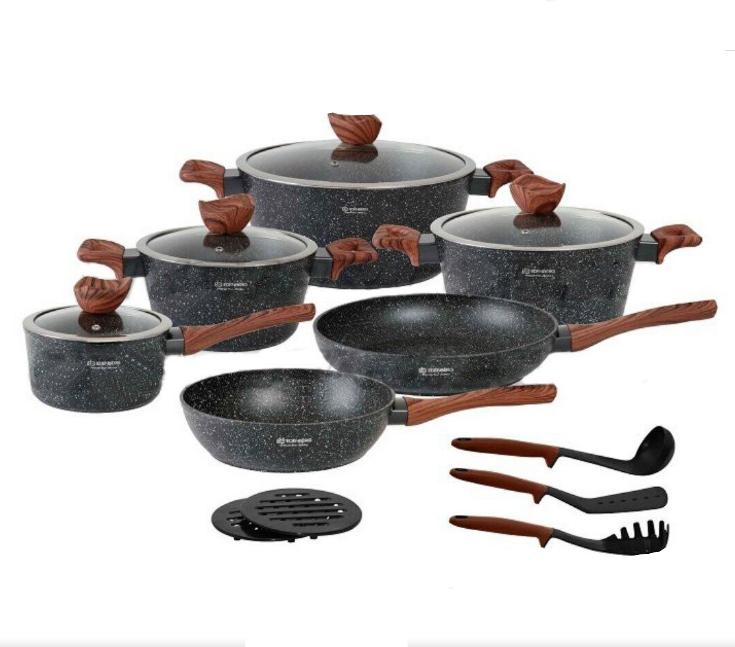 Набор посуды Edenberg EB-5617 из 15 предметов | Кастрюли сковороды ковш мраморное покрытие