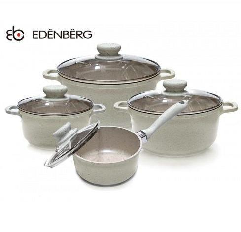 Набор посуды Edenberg EB-9182 из 4 предметов казаны и ковш мраморное покрытие