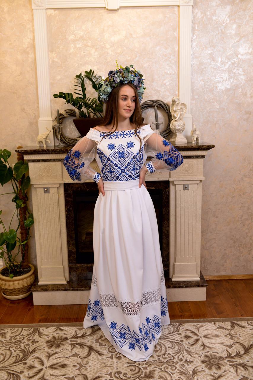 Довга вишита сукня з мереживом «Зоряне сяйво»