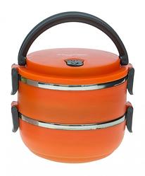 Двухъярусный ланч-бокс Benson BN-041 (1400 мл) оранжевый | двойной контейнер для еды Бенсон | ланчбокс Бэнсон