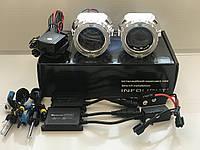 Би линзы Infolight Ultimate 2,5 дюйма с ангельскимим глазками и ксенон h1 6000 с блоками slim