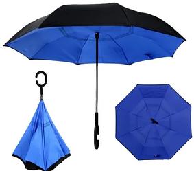 Вітрозахисний парасолька Up-Brella   антизонт   парасольку зворотного складання   парасольку навпаки Синій