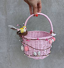 Рожевий дитячий великодній кошик для дівчинки