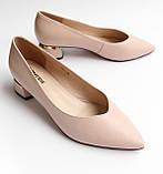 Жіночі шкіряні туфлі бежеві, фото 4