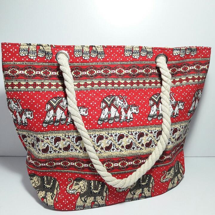 Текстильна Сумка річна для пляжу і прогулянок індійський орнамент