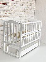Кровать Babyroom Зайчонок, ZL301, маятник, ящик, откидной бок, белая 624701