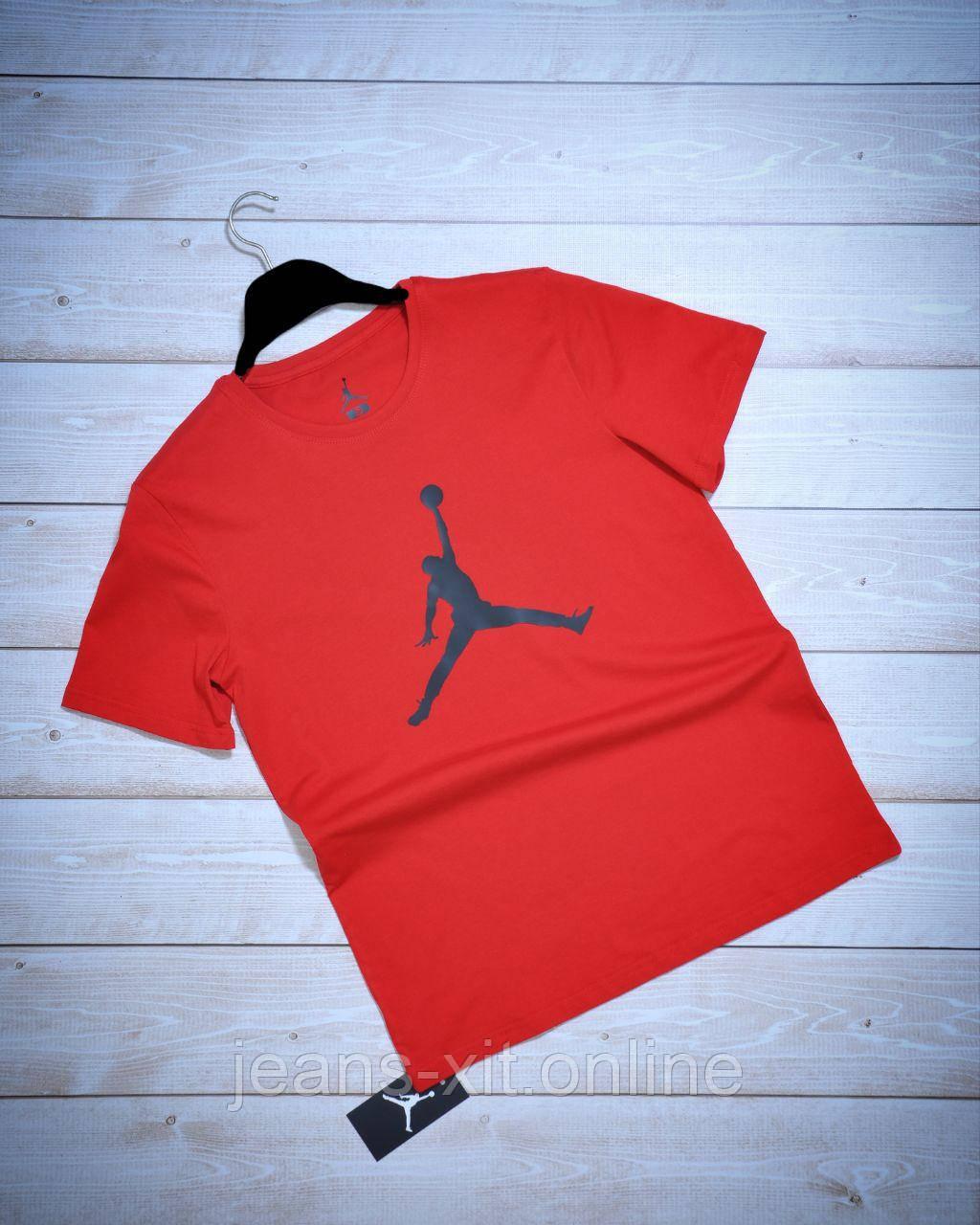 Футболка мужская 2XL(р) черная 1008-21 Jordan Турция Лето-D 2XL, красная