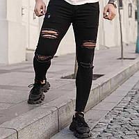 Мужские джинсы молодежные зауженные с разрезами черные (dmp-110) крутая одежда