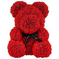 Мишка из роз 25см в Подарочной Коробке Красный, лучший товар