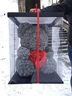 Мишка из 3D роз 40 см с сердечком в подарочной коробке Серый, лучший товар
