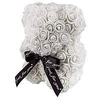 Мишка из роз 25см в Подарочной Коробке Белый, лучший товар