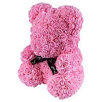 Мишка из роз 25см в Подарочной Коробке Розовый, лучший товар