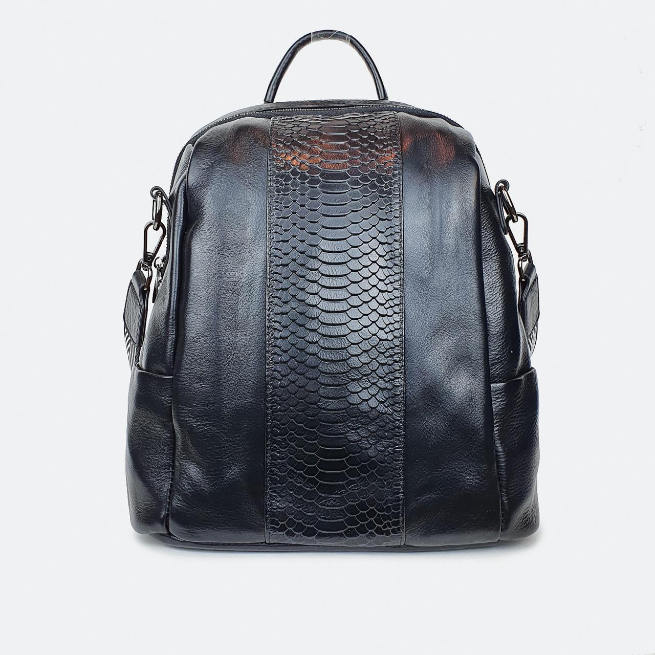 Сумка-рюкзак  женский кожаный черный