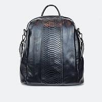 Сумка-рюкзак  женский кожаный черный, фото 1