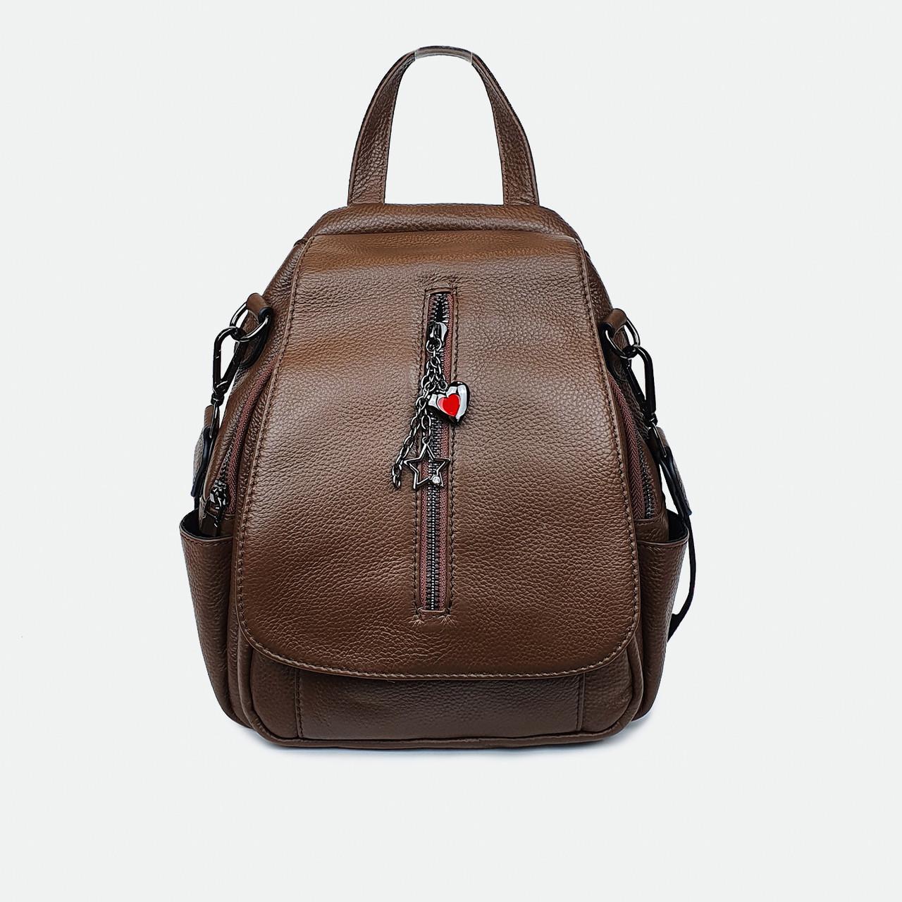 Рюкзак-сумка жіноча з натуральної шкіри коричневий