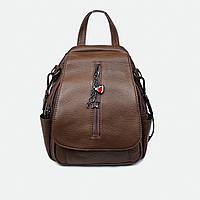 Рюкзак-сумка жіноча з натуральної шкіри коричневий, фото 1