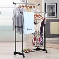 Стойка для одежды Double- Pole, Стойка для одежды напольная, Двойная телескопическая вешалка для одежды,