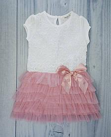Платье для девочек Ажурное с бантиком Белый/розовый Коттон Breeze Турция 5 лет, рост 110 см