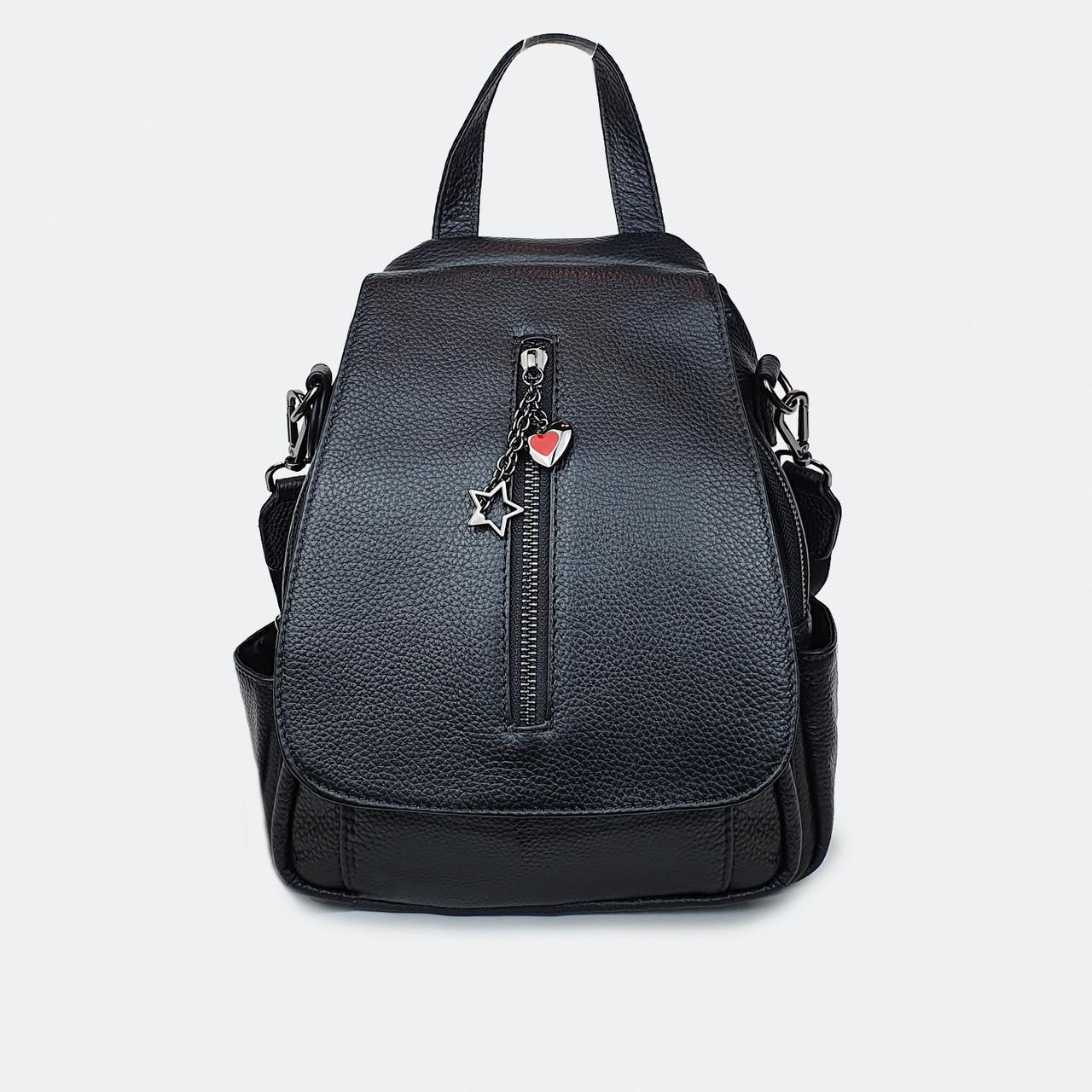 Рюкзак-сумка жіноча шкіряний міської чорний