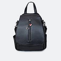 Рюкзак-сумка жіноча шкіряний міської чорний, фото 1