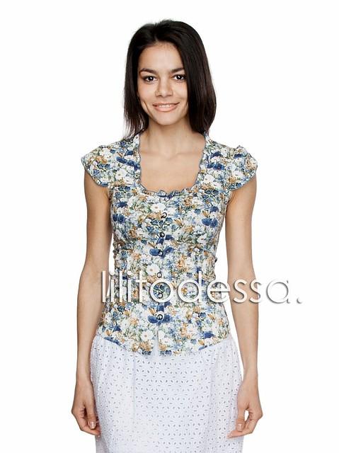 Блуза с цветочным принтом синий