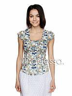 Блуза с цветочным принтом синий, фото 1