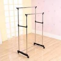 Двойная напольная телескопическая вешалка, стойка для одежды Double Pole Clothers Horse (30 кг), лучший товар