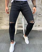 Мужские джинсы стильные зауженные с разрезами черные (dmp-111) крутая одежда