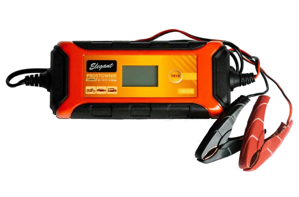 Імпульсний зарядний пристрій 6В/12В 1А/4А Elegant Compact EL 100 415 для авто і мото АКБ