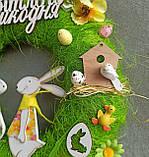 Пасхальний вінок, вінок до Великодня на двері чи стіну з зайчиками, фото 3
