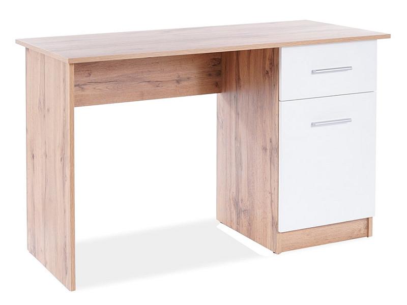 Бюро/ письмовий стіл B-002 DĄB WOTAN / BIAŁY MAT беж/білий