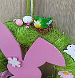 Пасхальний вінок на двері з великоднім зайцем (кроликом), фото 3
