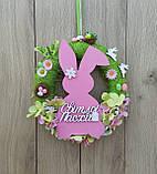 Пасхальний вінок на двері з великоднім зайцем (кроликом), фото 4