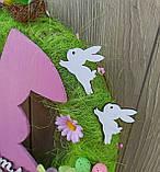Пасхальний вінок на двері з великоднім зайцем (кроликом), фото 6