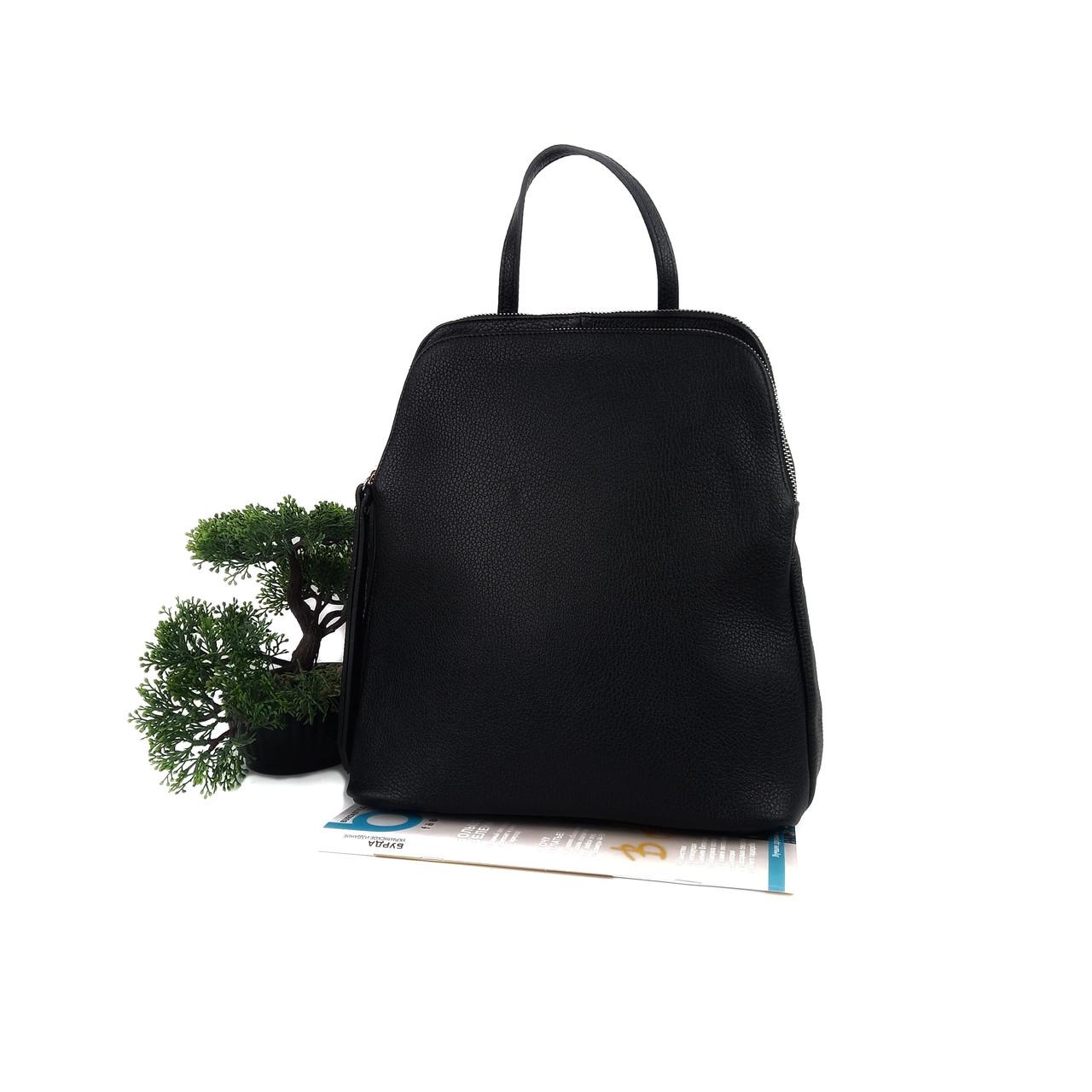 Модный женский рюкзак кожа черный Арт.02402 (VC) V.P. Італія