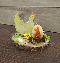 Пасхальна композиція зі свічкою та курочкою, пасхальний підсвічник