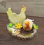 Пасхальна композиція зі свічкою та курочкою, пасхальний підсвічник, фото 2