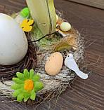 Пасхальна композиція зі свічкою та курочкою, пасхальний підсвічник, фото 6