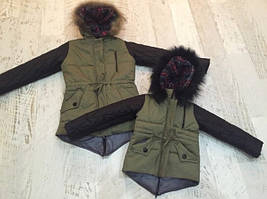 Классная зимняя куртка парка Мама и Дочка